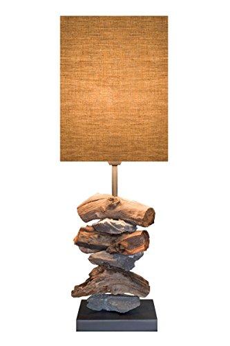 """Grafinteriors Tischlampe """"ELEMENTS"""" mit Holz und Steinen"""