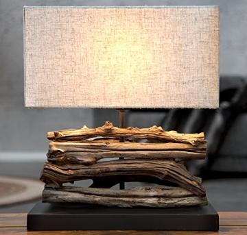 Levandeo Tischlampe aus Treibholz